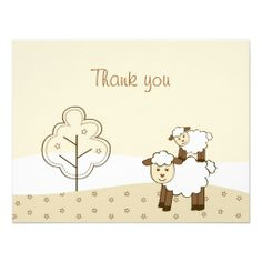 Sweet Little Lamb Thank You Note Cards Personalized Invites