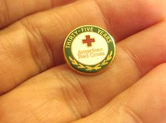 vintage American Red Cross 35 yrs 24K plated servive award pinback pin tie tack