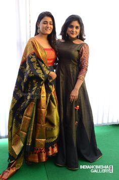 Nivetha thomas at East Coast Productions movie opening Choli Dress, Saree Gown, Anarkali Dress, Indian Dresses, Indian Outfits, Long Gown Dress, Long Frock, Indian Attire, Indian Designer Wear