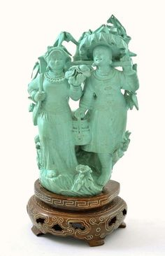 Chinese Cultural Revolution Turquoise Carved Girl