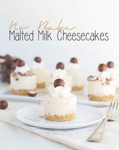 Easy no bake malted milk cheesecakes. They are the best tasting malted milk desserts I've tried yet and they are so darn cute to look at. Get them.