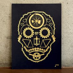 """thedailywhat:  Skullprint of the Day: """"La Bicicleta de los Muertos"""" by Will Geddes. Designed for ARTCRANK San Francisco, """"a blend of Mission..."""