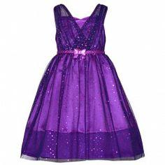Bonnie Jean Purple Sparkle Christmas Dress Plus Size Girls 12.5-20.5