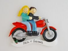 Personalized Ornament Motorcycle Couple - Female Blonde Hair/Male Brown Hair