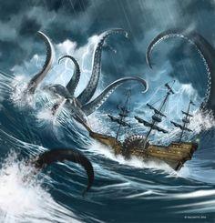 Ocean Creatures, Fantasy Creatures, Mythical Creatures, Kraken Art, Pirate Ship Tattoos, Octopus Art, Fantasy Island, Nautical Art, Monster Art