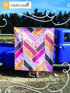 Broken Herringbone Quilt Pattern Cover by violetcraft, via Flickr