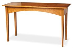 """Arched Writing Table.  Mortise-and-tenon joinery on the legs and aprons. Clear hard maple throughout. Height to top of table is 30"""". Top measures 50 3/4"""" wide x 20"""" deep."""