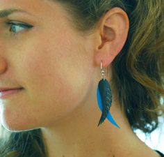 Feathers - Recycled Bike tube earrings. $25.00, via Etsy.
