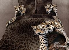 Sexy Leopard Print 4 Piece Bedding Sets/Comforter Sets