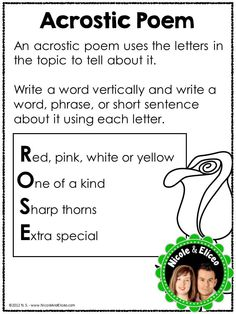 poetry unit - acrostic poem anchor chart