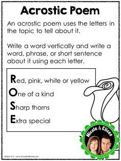 poetry unit - acrostic poem anchor chart