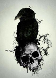 #corvo #gralha #cranio #caveira #renovação #tatto
