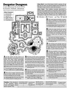 "axebanegames: "" Dorgotar Dungeon (1 Page Dungeon Contest) I decided to enter the One Page Dungeon Contest this year! Dorgotar Dungeon is the result. A free PDF version can be downloaded from my Patreon Page. It is designed for level 1-2 player..."