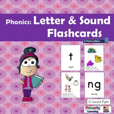 At a #literacy center, or in a large group, explore the letter sounds with these letter and sound flashcards!  #Kindergarten children can connect the sounds  heard... to the printed sound. Teach the child the letter on the front of the card, say the sound made by the letter (i.e. /ssssss/ as in snake), and play games to find the letter(s) of the sound that you have just practiced.  Record the sound.  BUY IT NOW! (available in Print Letters or Sassoon Font)  #letterandsound