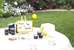Activity Table from a Two-A-Saurus Dinosaur Garden Party via Kara's Party Ideas | KarasPartyIdeas.com | The Place for All Things Party! (5)