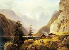 Painting of the Day!  Horst Hacker 1842-1906 German An Alpine Valley 92 x 134 cms | 36 x 52 3/4 ins Oil on canvas  To see more work by this artist please visit us: https://www.artrenewal.org/Artwork/Index/11118 #artrenewalcenter #horsthacker #artist #painting #oldmaster