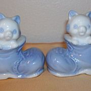 Cute Blue & White Porcelain  Kittens in Shoes Salt & Pepper Set circa 1960's