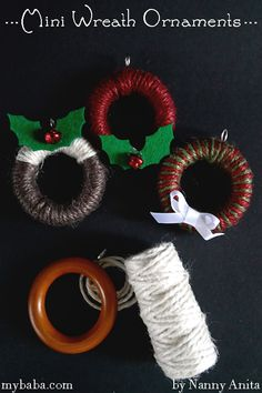 These mini wreath decorations are super simple to make and will look beautiful hanging on your Christmas tree. Christmas Pom Pom Crafts, Christmas Crafts To Sell, Christmas Minis, Diy Christmas Ornaments, Christmas Wreaths, Christmas Decorations, Christmas 2019, Christmas Ideas, Xmas