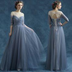 ŞİFON NİŞAN ELBİSESİ (Mavi) ABİYE ELBİSE Gece Elbisesi
