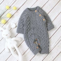 Baby Jumpsuit, Cotton Jumpsuit, Long Sleeve Outfits, Long Sleeve Romper, Baby Knitting, Knitted Baby, Baby Winter, Cable Knit Sweaters, Size Clothing