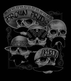 day the Dead. Lettrage Chicano, Chicano Tattoos, Tattoos Skull, Gangster Tattoos, Arte Cholo, Cholo Art, Mexican Skulls, Mexican Art, Crane