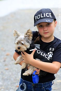 Knock out the kid's DIY costume and the dog's as well! How to make a K-9 Police Officer Uniform for Halloween with the badges, uniform, hat and more.