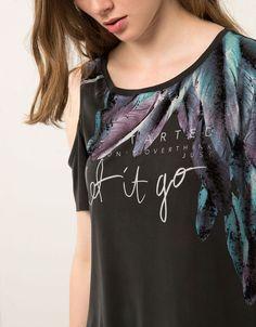 Maglietta Bershka lunga off shoulder 'let it go' - T- Shirts - Bershka Italy
