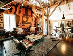 Awesome wall treatment in loft