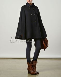 Black cape Wool Cape Cashmere coat double breasted by Concertino Fashion 101, Autumn Fashion, Fashion Outfits, Winter Outfits, Cool Outfits, Black Cape, Wool Cape, Anime Dress, Evening Dresses For Weddings