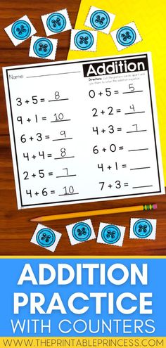 This BUNDLE of Addition, Subtraction, and MIXED Addition and Subtraction worksheets with fun cut apart counters reinforces addition and subtraction within 10. These pages are great for math centers, sub tubs, morning work, or fast finishers. They are also great for homework because the counters are right on the page!