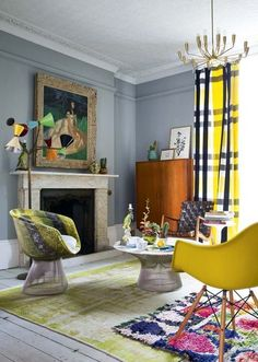 A London living room in vintage, colour and deco inspired.