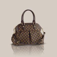 Louis Vuitton Trevi PM Damier Ebene Canvas Top Handle Gorgeous pleats in  Damier canvas mark out the Trevi PM as an ideal feminine bag. 5ac42e4fb1c40