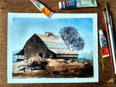 HOW TO PAINT WATERCOLOR LANDSCAPE:OLD HOUSE | Paint with david - YouTube