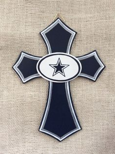 Dallas Cowboys cross  wooden cross  12x9 by thenovelowl on Etsy