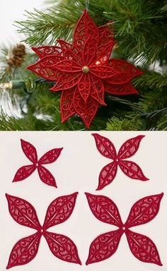 Stitch out these freestanding lace pieces onto water-soluble stabilizer, rinse, and assemble into a festive poinsettia! Size listed is for the largest piece.