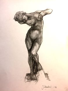 Drawing of Auguste Rodin's sculpture
