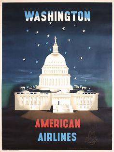 Kauffer, Edward McKnight 1890 - 1954. American Airlines - Washington. Offset approx. 1952. Size: 40.1 x 29.9 in. (102 x 76 cm). Printer: no information.