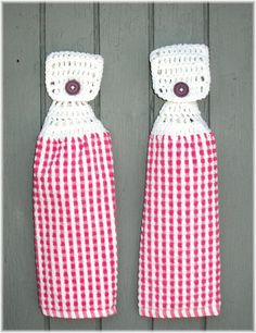 Hanging Kitchen Towels Pink and White Checkered by DebbieCrochets