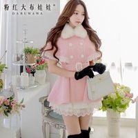 Boneca de rosa 2016 new long e casaco de lã casaco feminino D14DOT143