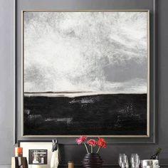 Painting Landscape Sea Etsy 57 Ideas For 2019 Black And White Landscape, Black And White Wall Art, Black And White Painting, Black And White Abstract, Black White, Large Canvas Art, Large Wall Art, Framed Art, Abstract Landscape Painting