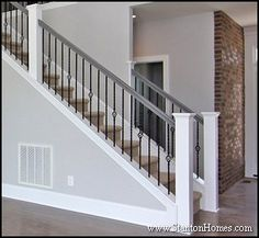 Stair Post Designs on Post To Post Staircase Picture Staircase Design Ideas… Iron Spindle Staircase, Staircase Railings, Modern Staircase, Staircase Design, Bannister, Double Staircase, Wrought Iron Stairs, Traditional Staircase, Railing Design