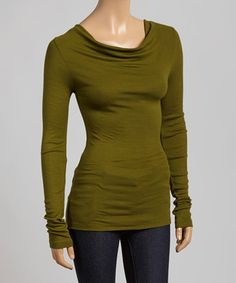 Another great find on #zulily! Cypress Green Ribbed Cowl Neck Top by Survival #zulilyfinds