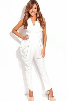 B*Envied Online Clothing Boutique - White Pleated Detail Jumpsuit