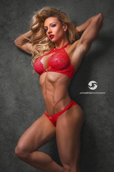 red hot lingerie modeled by glamorous blonde #Fitness model : if you LOVE Health, Workouts & #Inspirational Body Goals - you'll LOVE the #Motivational designs at CageCult Fashion: http://cagecult.com/mma