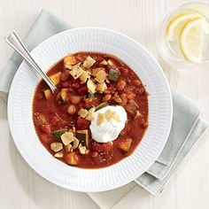 White Bean Chili with Corn Chip Crunch | CookingLight.com