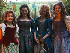 """Lady Hobbits from """"The Hobbit"""" series. (Second from the left is Peter Jackson's daughter, who had a cameo at Bilbo's birthday in the original trilogy, too.)"""
