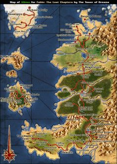 Map of Albion (At the time of The Hero of Oakvale), Fable II Fantasy World, Fantasy Art, Fable Ii, Fantasy Map Making, Imaginary Maps, 2nd Birth, Gaming Posters, The Masterpiece, Cartography