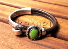 women  brown leather bracelet and sterling silver plated by kekugi