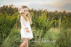 Beautiful off-white, lace flower girl dress. Perfect for beach weddings, country weddings, photography prop, birthday.