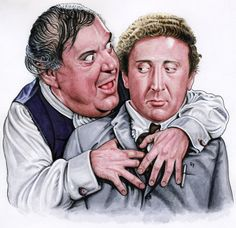 """Drew Friedman says: """" This is my new cover artwork for the upcoming Shout Factory Blu-Ray release of Mel Brooks 1968 comedy classic """"The Producers"""": Zero Mostel as flamboyant Broadway producer Max Bialystock embracing/enticing meek accountant Gene..."""
